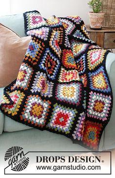 Granny Hugs / DROPS 203-3 - Modelli di uncinetti gratuiti di DROPS Design Motifs Granny Square, Granny Square Blanket, Granny Square Crochet Pattern, Crochet Squares, Crochet Blanket Patterns, Granny Squares, Afghan Patterns, Square Patterns, Crochet Granny