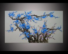 Hand-painted living room decor blue plum blossom by LisaHomeArts