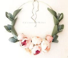 Soft Sage Leaves and Blush Peonies on a Gold Hoop form a gorgeous wreath that will suit everything from a nursery to an entryway  • Jute twine will be provided for hanging • Each wreath is assembled by hand which makes each order unique, yours will be similar to the one pictured but