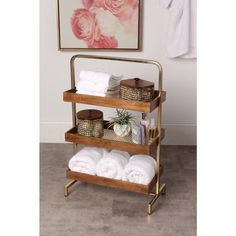 Shop for Kate and Laurel Hanne Free-standing Shelf. Get free delivery On EVERYTHING* Overstock - Your Online Home Decor Outlet Store! Freestanding Bathroom Shelves, Bathroom Standing Shelf, Free Standing Shelves, Small Bathroom, Bathroom Table, Bathroom Cart, Spa Bathroom Decor, Ikea Bathroom, Bathroom Cabinets