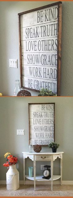 Family rules sign Be kind Speak Truth Love others Show grace Work hard Be grateful Entryway sign home decor farmhouse sign farmhouse decor rustic sign rustic decor living room wall art dining room decor Farmhouse Wall Art, Country Farmhouse Decor, Farmhouse Signs, Rustic Cottage, Rustic Cafe, Farmhouse Dining Rooms, Rustic Living Rooms, Living Room Walls, Rustic Logo