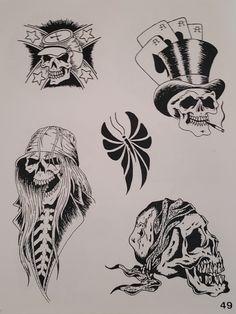 Biker Tattoos, Black Tattoos, Traditional Flash, Traditional Tattoo, Tattoo Ideas, Tattoo Designs, Vintage Flash, Tattoo Flash Art, Skull And Bones