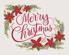 Merry Christmas Floral - Christmas Art Print Merry Christmas, Christmas Gift Box, Christmas Wishes, Christmas Themes, Christmas Crafts, Christmas Decorations, Christmas Poinsettia, Christmas Cookies, Christmas Background