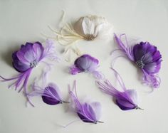 Purple Ombre Bridal Party Fascinator Set With Ivory and Gold Bridal Headpiece and Matching Purple Hairclips