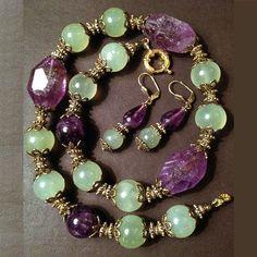 bracelet and earring set #BeadedJewelry
