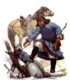 A Mongol archer with a dead Russian warrior