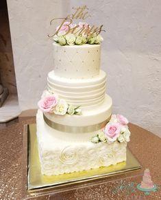 Beautiful buttercream wedding cake with gold and blush details. Blush Wedding Cakes, Buttercream Wedding Cake, Cake Recipes, Desserts, Gold, Beautiful, Tailgate Desserts, Deserts, Easy Cake Recipes