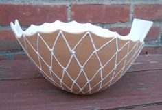 Vintage Ed Langbein Italy Porcelain Ceramic Mid Century Abstract Serving Bowl