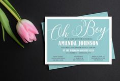 Oh Boy invitation, Minimalist Baby shower invitation, Blue boy shower invite, printable invitation, printed invitations