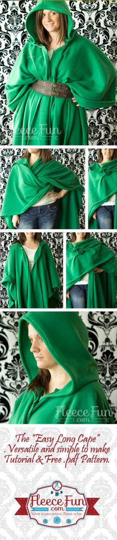 Free Long Cape Pattern ♥ Fleece Fun - great basic robe idea and warm top layer