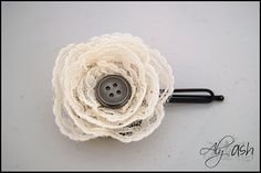 Vintage lace flower. These were so easy to make! I made them into pins for all the teachers at my daughters school and into hair bows for my kids.