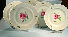 Set of 5 Early Meissen Plates HP Rose and Buds