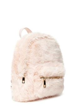 mini backpack crafted from faux fur with a high-polish zip top, one exterior zip pocket, woven adjustable shoulder straps, and one interior compartment. Cute Mini Backpacks, Stylish Backpacks, Girl Backpacks, Mini Mochila, My Bags, Purses And Bags, Fashion Bags, Fashion Backpack, Fall Fashion