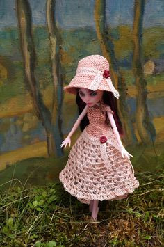 hand crocheted pink openwork elegant DRESS and by ZomiDollClothes