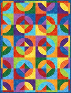 "Rainbow Go Round Quilt Pattern uses the 6"" Quick Curves Template"