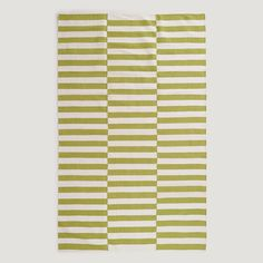 Green and White Stripe Dhurrie Rug | World Market