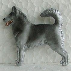 Siberian Husky Grey White Brooch Dog Breed Jewellery Handpainted Resin