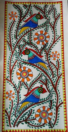 Parrot in Madhubani painting Madhubani Paintings Peacock, Kalamkari Painting, Madhubani Art, Indian Art Paintings, Buddha Kunst, Buddha Art, Kerala Mural Painting, Canvas Painting Tutorials, Indian Folk Art