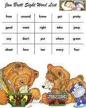 Dolch sight words with Jan Brett illustrations
