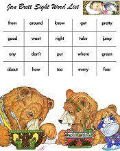 Dolch sight words with Jan Brett illustrations