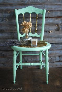 Mint Chair with Gold Wax - brepurposed #countrychic #mintandgold #chairmakeover #goldwax