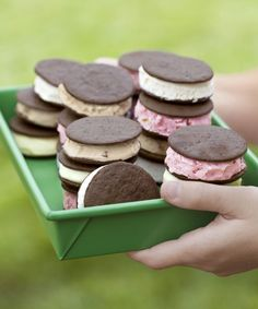 Use crisp, store-bought wafers to whip up delicious ice-cream sandwiches in a jiffy. Make them with homemade lemonsicle ice cream for an especially summery treat. Recipe: Lemonsicle Ice Cream   - CountryLiving.com