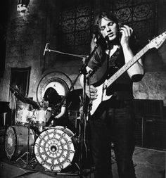 David Gilmour with Pink Floyd at Abbye de Royaumont in France, 1971