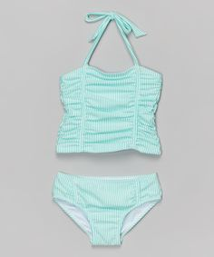 Look at this #zulilyfind! Turquoise Ruched Seersucker Tankini - Toddler & Girls by Jessica Simpson Collection #zulilyfinds