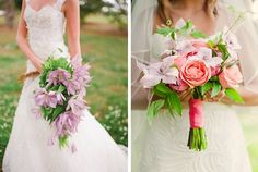 Love the purple shades of clematis in these bouquets! Wedding Flowers, Wedding Dresses, Wedding Planners, Event Management, Clematis, Event Decor, Event Planning, Denver, Bouquets