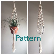 This Listing is for the Macramé Pattern to make the above Plant Hanger. Have you always wanted to try Macramé or get back in the saddle? This is the perfect opportunity, a beginner project with easy to read instructions. The final Macramé Plant Hanger will measure between 37 and 41 long. For perspective on what pots will fit, the large terra cotta pot is 7 in diameter at the top, 4 at the bottom and 6 high. The large glass vase is 5 1/2 in diameter and 6 high. The materials needed for th...