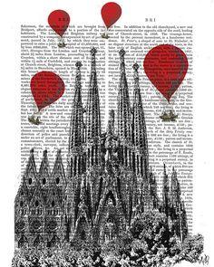 Sagrada Familia and Vintage Hot Air Balloons Art Print, wall art wall decor, vintage dictionary page ar Barcelona Spaint