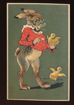 Big DRESSED RABBIT & Chick Antique Embossed Easter Postcard-PFB Publ.-kkk383