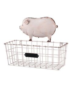 Stow recipe books or cooking magazines in the kitchen with this lovely metal wall basket, showcasing a pig motif and pink and white finish. Product: Wall basketConstruction Material: MetalColor: White and pinkFeatures: Pig motifDimensions: H x W x D Metal Wall Basket, Hanging Wire Basket, Wire Baskets, Baskets On Wall, Storage Baskets, Pig Kitchen, Country Kitchen, Kitchen Ideas, Kitchen Redo