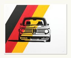 Classic Car Print  BMW 2002 Turbo  German Colors - Love this print