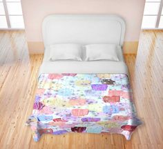SWEET Fine Art Duvet Covers King Queen Twin Toddler Modern Home Decor, Lovely Pastel Pink and Blue tones, Bedroom Dorm Room Bedding Decoration, Girlie Sweet Style by EbiEmporium, $140.00