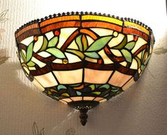 WL03 Handmade Tiffany Style Wall Light Lamp - Leaf Design - Ideal Home/Gift