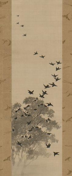 Detail. Suzuki Kiitsu, (1796 - 1858). Black birds. early 19th century. Japan. Left of a pair of hanging scrolls, ink and gofun on silk.