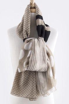 B68 Mixed Media Black Tan Ivory Polka Dot Stripe Shawl Scarf Wrap Boutique