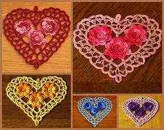 #Irish #Crochet #Heart - Made-To-Order - You Choose one these colors:  #Pink, #Burgundy #Red, #Yellow, #Blue or #Lavender #Purple Heart -- https://www.etsy.com/listing/267292831/irish-crochet-heart-with-3d-roses -- #Handmade by @rssdesignsfiber - RSS Designs In Fiber - Heart Decoration, Valentine Heart, Wedding Heart, Romantic Heart, Jewelry Pendant - Really nice for any #Romantic occasion - or a #Friendship Gift