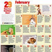 Printable tip-of-the-day calendar: 29 days to a healthier heart - Heart Health Fitness Facts, Fitness Quotes, Fitness Nutrition, Heart Health Month, Heart Month, Hello February Quotes, Workout Calendar, Fitness Calendar, Spark People