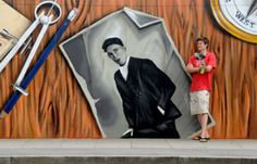 Graffiti artist James Burgess who has created a new mural in Swansea's SA1