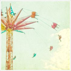 Summer Fun at Coney Island  Original Photography 8 x 8 Vintage Look by minagraphy