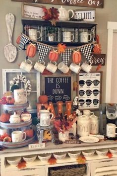 Easy DIY Indoor Halloween Decor and Display Ideas, Ways To Decorate Your Tiered Tray For Halloween, Kitchen Counters, or Fireplace Mantle Decorating, Halloween Decor Coffee Nook, Coffee Bar Home, Coffee Bars, Coffee Corner, Decoration Inspiration, Decor Ideas, Bar Ideas, Room Ideas, Seasonal Decor
