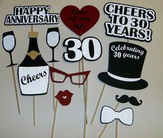 Anniversary Photo Prop / Silver Anniversary/ Cheers / Champaigne / Love You are in the right place about diy anniversary for him Here we offer you the most beautiful pictures about the di 30th Anniversary Parties, 30 Year Anniversary, Wedding Anniversary Photos, Anniversary Surprise, Parents Anniversary, Anniversary Decorations, Anniversary Scrapbook, Anniversary Cards, Pearl Anniversary