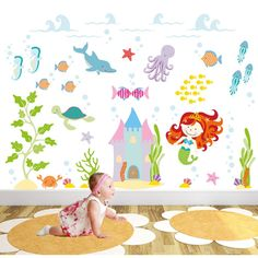 http://www.ruggabub.com.au/nursery/deluxe-magical-mermaid/ Captivate your child's imagination with our exclusive luxury self adhesive fabric wall art designs