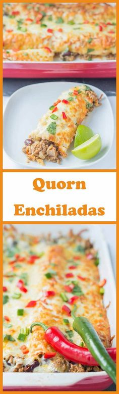 Quorn enchiladas are a healthier vegetarian version of the classic Mexican dish. They're lower in fat and calories than the traditional version and make for a hearty tasty weekend dinner. Quorn Recipes, Veggie Recipes, Vegetarian Recipes, Snack Recipes, Healthy Recipes, Vegetarian Mexican, Veggie Food, Vegan Meals, Shrimp Recipes