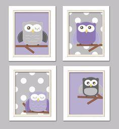 Nursery Quad, Purple and Gray Nursery, Owl Nursery, Set of 4 8X10, Purple, Gray