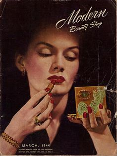 The glamorous cover of Modern Beauty Shop magazine, March 1944. #vintage #1940s #makeup #beauty