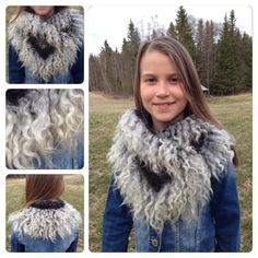 The Scandinavian way to wear fur necklet, either felted or sewn of for instance Gotland Landrace sheep skin Needle Felted Animals, Felt Animals, Nuno Felting, Needle Felting, Felt Flower Scarf, Wet Felting Projects, Fur Accessories, Spinning Yarn, Felt Birds