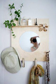 A Modern DIY Bathroom Organizer (with Mirror) - Welcome my homepage Retro Furniture, Furniture Decor, Furniture Market, Crochet Home Decor, Diy Home Decor, Modern Diy Bathrooms, Diy Pared, Design Hall, Entryway Decor